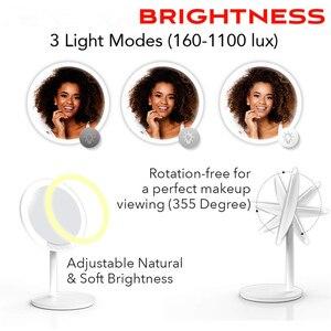 Image 3 - Specchio per il trucco cosmetico con 66 Luci A LED 2000mah Ricaricabile, 180 Gradi di Rotazione, 1x 10x Lente di Ingrandimento con il Basamento e Da Viaggio Specchio