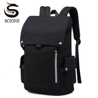Scione Waterproof Travel Backpack Men Solid Laptop School Bagpack Student Large Casual Camouflage Stripe Plaid Star Back Bags