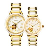 New Couple Watch Lovers Clock Jade Men's Watches jade automatic mechanical hollow creative Wristwatch Carnival Woman jades watch