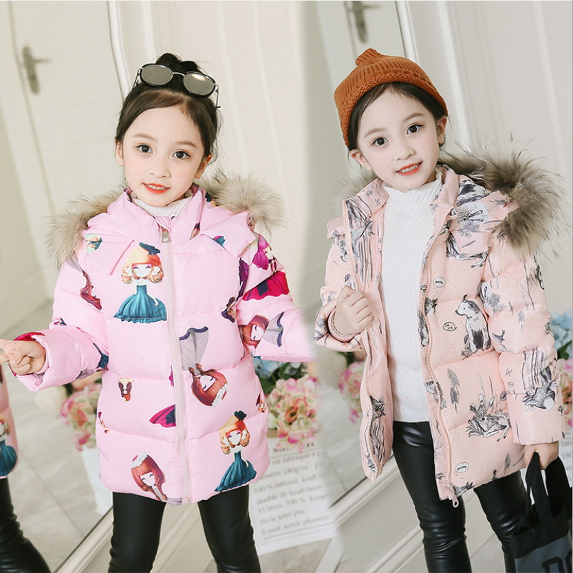 2-7 Y Cute Baby Girls Winter Long Coat Fashion Korean Kids Girl Lovely Hooded Parkas Children Bow Ruffles Cotton-padded Jackets Comfortable Feel Mother & Kids Down & Parkas