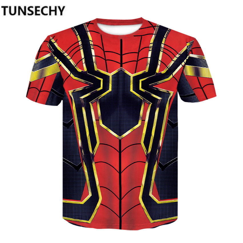 Iron Spider Spider-Man 3D Print   t     shirts   Men Compression   shirts   Superhero Tops costume Short Sleeve Fitness Crossfit   T  -  shirts