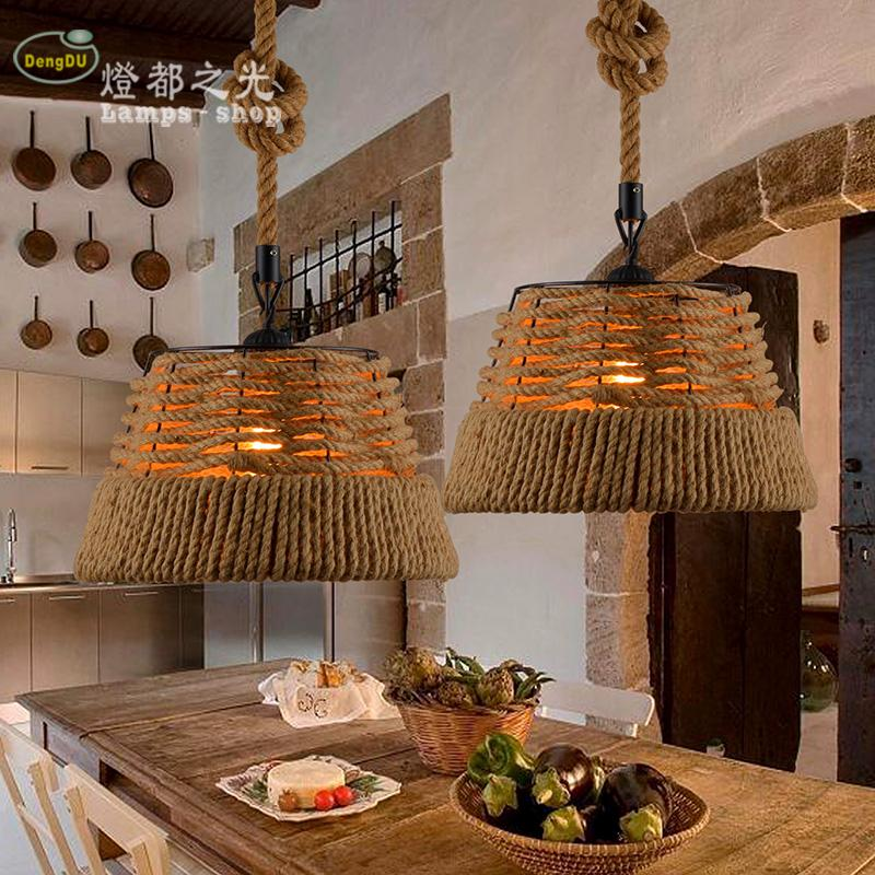 The Nordic LOFT American country retro hand woven rope chandelier bar Coffee hall chandelier project