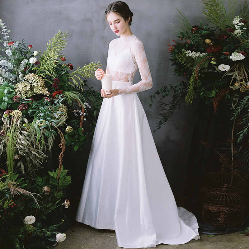Simple Wedding Dresses 2019 Illusion High Neck Wedding Gowns Long Sleeves Vestido De Noiva White Ivory Bride Dress