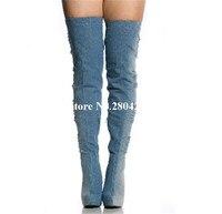 Hot Sale Denim Broken Hole Over The Knee Thigh High Boots Platform Round Toe Stiletto Heel Zipper Detail Cowboy Boots For Women