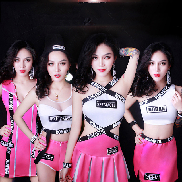 Jazz Dance Dress Hip Hop Costumes Pink Cheerleading Costume Nightclub Singer Bodysuit Ds Dj Outfit Pole Dance Clothing DN1738