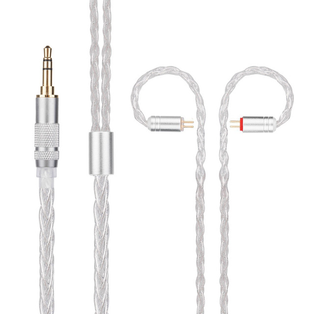 New Yinyoo H3 H5 8 Core Upgraded Silver Plated Earphone Cable With MMCX/2pin For Yinyoo HQ6 HQ8 QT2 KZ ZS10 ES4 AS10 BA10 ZSN