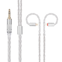 New Yinyoo H3 H5 8 Core Upgraded Silver Plated Cable 3 5mm Earphone Cable With MMCX