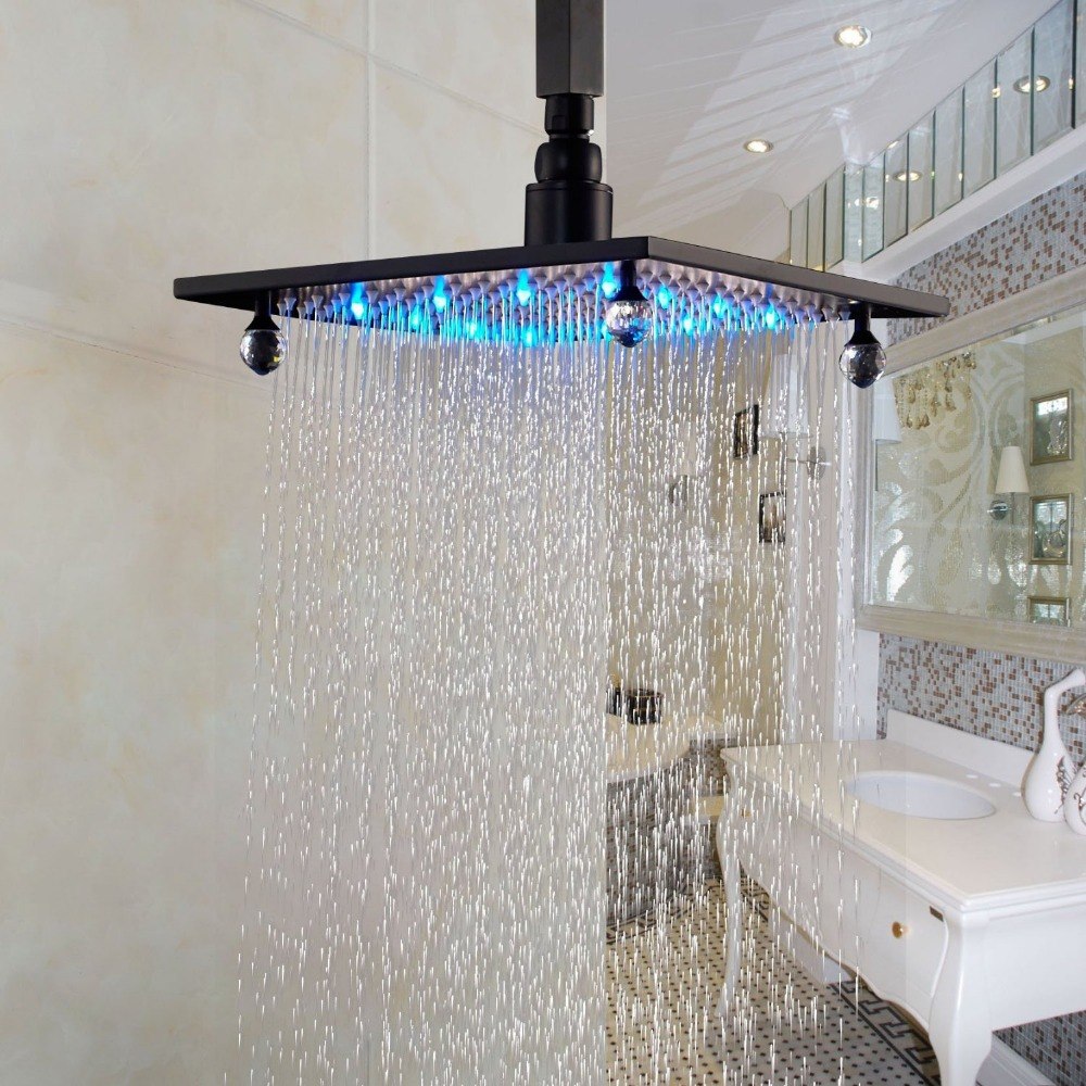 luxury led light bahtroom shower head 10 square top spray crystal deco oil rubbed bronze in. Black Bedroom Furniture Sets. Home Design Ideas