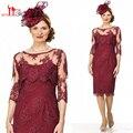 Borgonha Chá Comprimento Mãe Dos Vestidos de Noiva Com Jaqueta de Renda Vestidos de Noite Formal 2017 Vestido de Baile Barato Liyatt