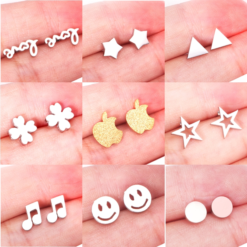 ASONSTEEL Girl Earrings Star/Love Letter/Smile/Snowflake/Owl/Flower/Round Stainless Steel Stud Earring For Women Daily Wear
