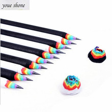 1PCS cute stationery 2B rainbow pencil pencils black and white creative for student 2019 HOT YOUE SHONE