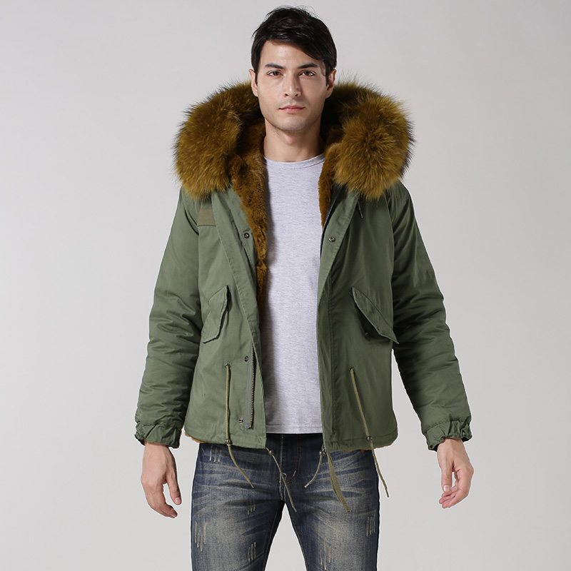 2015 new winter ArmyGreen Short paragraph Hooded raccoon fur collar Men Fur Coat JSH844
