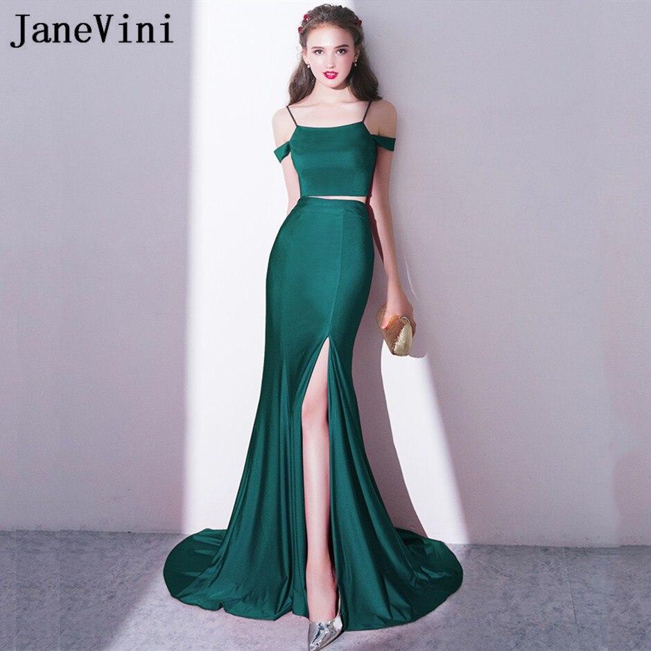 JaneVini Sexy Two Pieces Sisters Mermaid   Bridesmaid     Dress   Long Split Wedding Guest Party   Dresses   Sweep Train Robe De Marier 2018