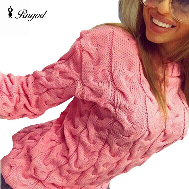 RUGOD Solid Women Sweaters And Pullovers Loose Knitted Pullover Female Tops Autumn&Winter Long Sleeve Jumper Sweater pull femme
