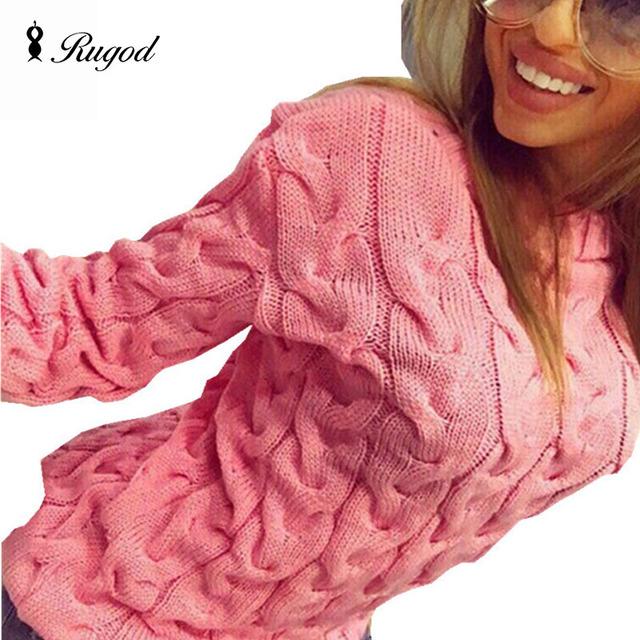 Rugod sólida mulheres suéteres e pulôveres solto malha pulôver blusas femininas outono & inverno manga comprida jumper camisola puxar femme