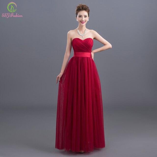 0b3153bb7 Robe De Soirée 2016 Nueva Novia Sin Mangas Largo Vino Tinto Vestido de  noche de la