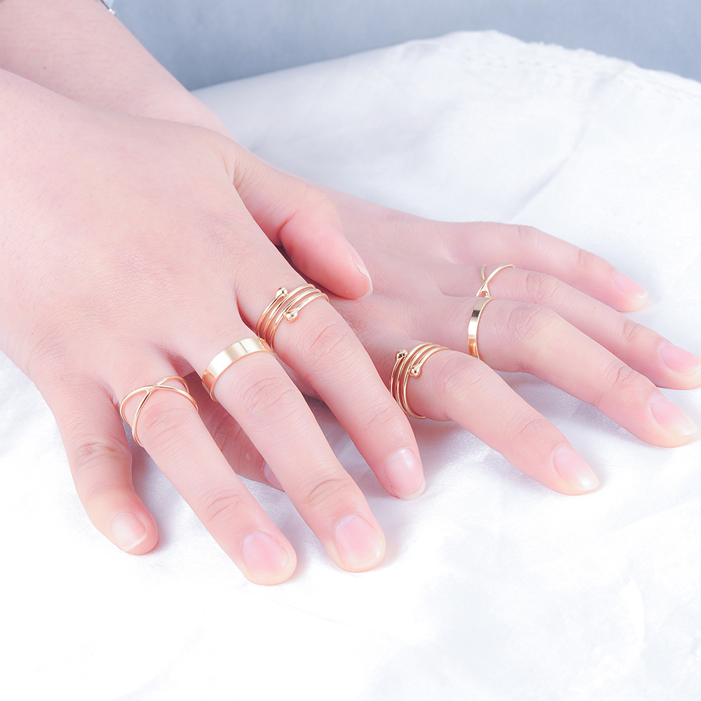 Beagloer 6pcs/Sets Gold Color Knuckle Finger Rings Simple Style ...