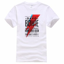 Personalised Tee Shirts O-Neck Men Short Sleeve Office  Bowie Ziggy Stardust Poster Glam Rock