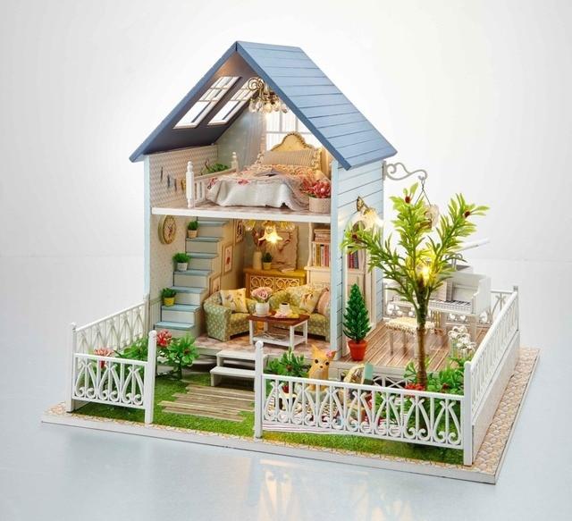 24th diy wooden dollhouse 3d model kit miniatures doll house large villa furnitures - 3d Model Of House