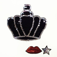 crown star lip set sequined patches sewing on garment stick embroidery applique patches for clothes parches para la ropa