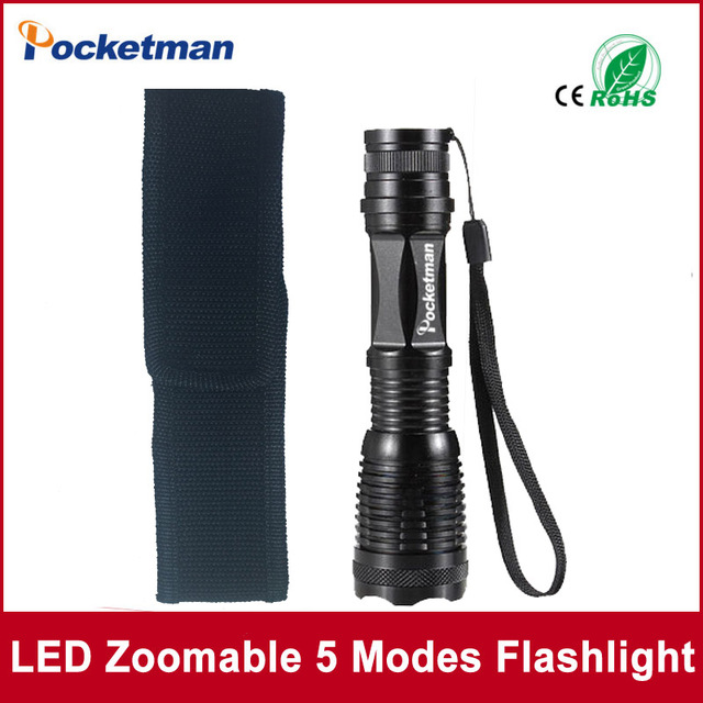 Flashlight XM-L T6 4000 Lumens High Power LED torch Flashlight Linternas Zoomable With a Portable Sleeve E17 Lampe Torche