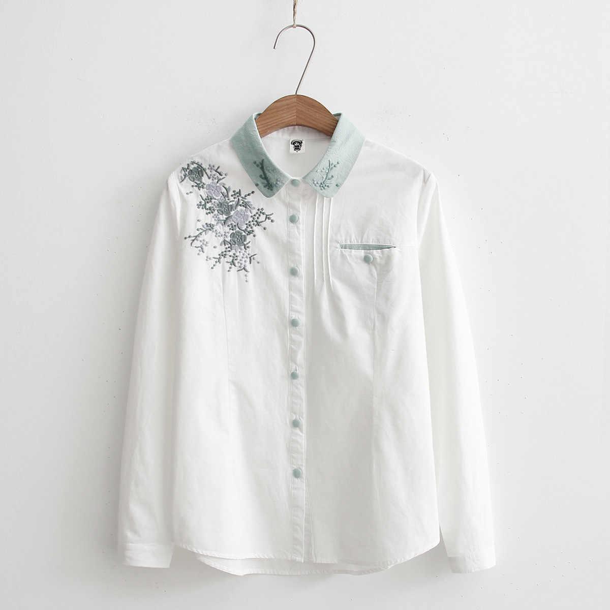 2506e86ef2d Для женщин блузки Цветочная вышивка  белый цвет женские Повседневное женские  Топы Рубашка с длинными рукавами
