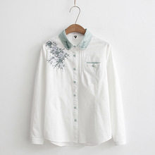 Women Blouses Floral Embroidery White Female Casual Ladies Tops Long Sleeve Shirts Cotton Clothes Autumn Blusas