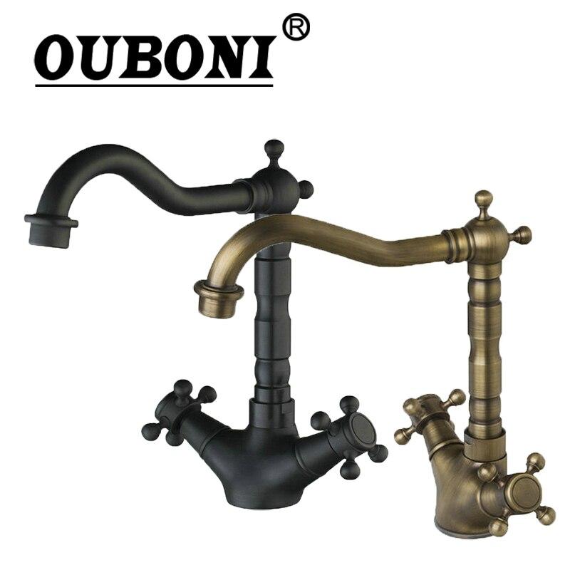 купить OUBONI Rotated Kitchen Faucet Oil Rubbed Black Bronze Basin Sink Mixer Water Tap Bathroom Wash Basin Faucet Cozinha Torneira по цене 3551.51 рублей