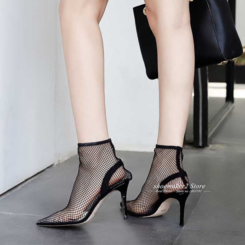 Verano Altos Toe Mujer 2018 Sexy Tacones De Malla Gladiator Pvc Sandalias  Negro Señaló Botas Zapatos ... fab3e6ef5ad5