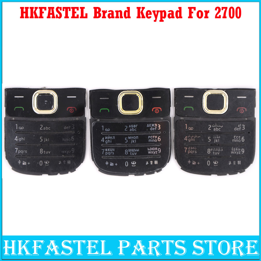 HKFASTEL New High quality Cell phone Keyboard For <font><b>Nokia</b></font> <font><b>2700</b></font> Mobile Phone <font><b>Housing</b></font> English / Russian Keypad Cover Case image