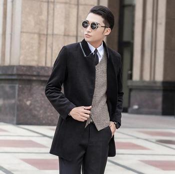 2016 Korean black grey manteau homme wool coat men single-breasted coat men trench coat fashion brand plus size M –  7XL 8XL 9XL