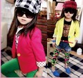 Spring 2016 new girl colorful blazer fashion children outerwear children's winter jacket full size 3T~10 free shipping