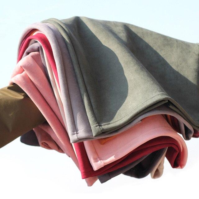 Sainishi Super Deals Women Suede Solid Color Pencil Skirt Female Spring Autumn Basic High Waist Bodycon Split Knee Length Skirts 1