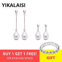 YIKALAISI 925 Sterling Silver Natural Freshwater Pearl Long Earring Statement Earrings Outstanding For Women 8-9mm Pearl