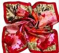 Великолепный новое прибытие Площадь 100% сатин шелковый шарф новое прибытие шелковый шарф шаль wrap оптом женская 17 цвета 90*90 см #3780