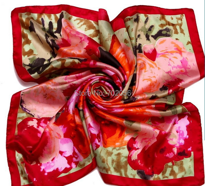 Gorgeous new arrival Square 100% satin silk   scarf   new arrival silk   scarf     wrap   shawl wholesale womens 17colors 90*90cm #3780