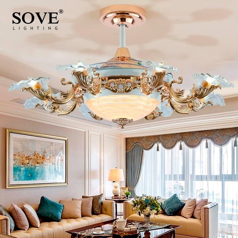 Européenne Moderne LED E14 * 8 Invisible Rétractable Ventilateurs de Plafond Avec Lumière Salon Pliant Ventilateur de Plafond Lampe Télécommande