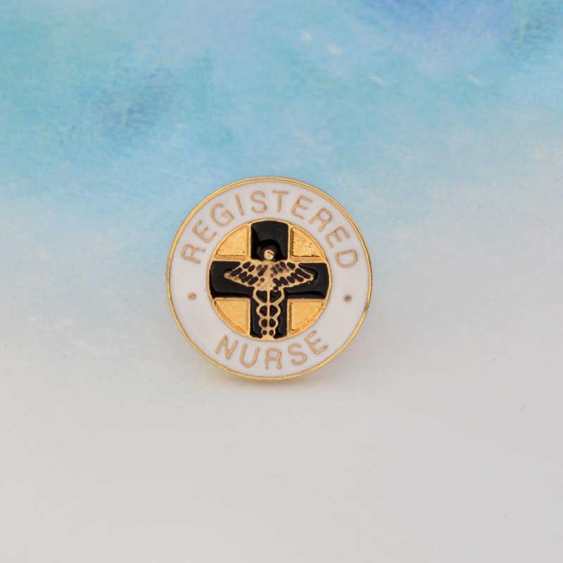 Terdaftar Perawat Palang Merah Tebu Enamel Pin Bros Edaran Cross Malaikat Sayap Ransel Mantel Lencana Hadiah Kelulusan Dokter Perawat