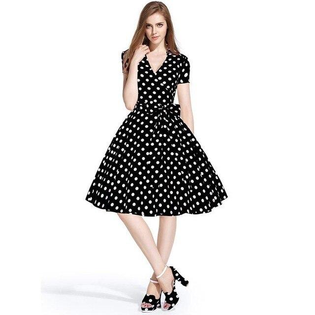 Para mujer vestidos de punto floral de la vendimia 50 s 60 s hepburn ...