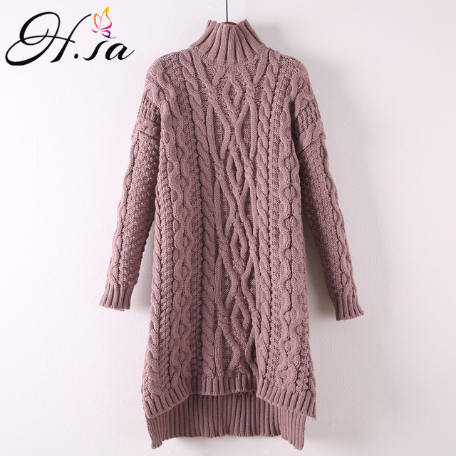 H.SA 2017 Autumn Spring Women Long Sweater and Pullovers Casual Turtleneck Pull Sweaters Irregular Twisted Korean pull femme