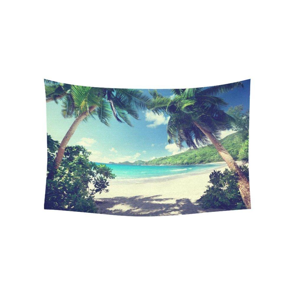 Tropical Palm Trees Wall Art Home Decor, Beach Takamaka Mahe island Seychelles Tapestry Wall Hanging Art Sets