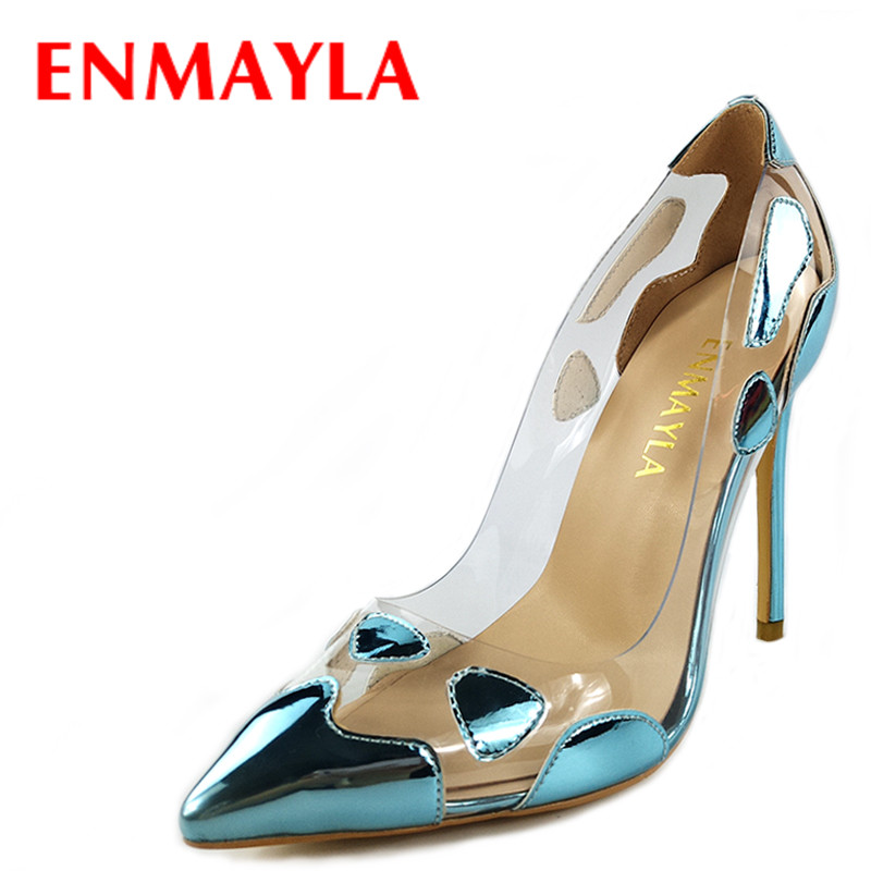 ENMAYLA Women Summer Clear Stiletto Heel Pointed Toe Pumps Custom High Heels Ladies Dress Shoes Woman Mixed Colors Wedding Shoes plus big size 34 47 shoes woman 2017 new arrival wedding ladies high heel fashion sweet dress pointed toe women pumps a 3