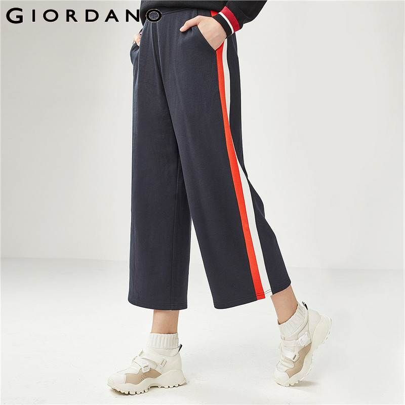 Giordano Women   Wide     Leg     Pants   Women Contrast Color Pantalon Femme Calf Length   Wide     Leg     Pants   Elastic Waist Straps Trousers Women