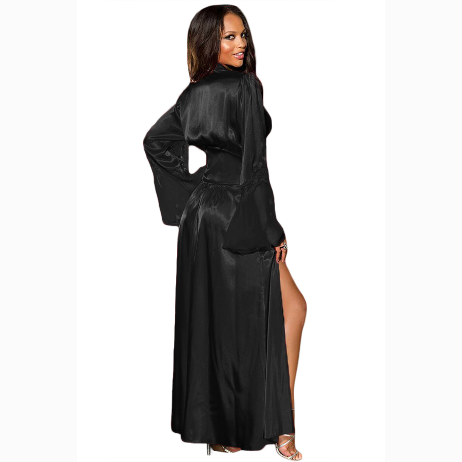 fd6aea7623 2018 Autumn Women s Sexy Lace Deep V Neck Glamour Valentine Long Robe Women  Kimono Dressing Gown Nightgown-in Robe   Gown Sets from Underwear    Sleepwears ...