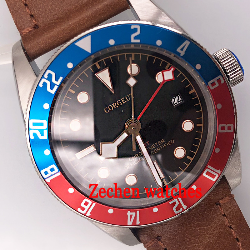 41mm corgeut black dial sapphire glass GMT date window automatic mens wrist watch цена и фото