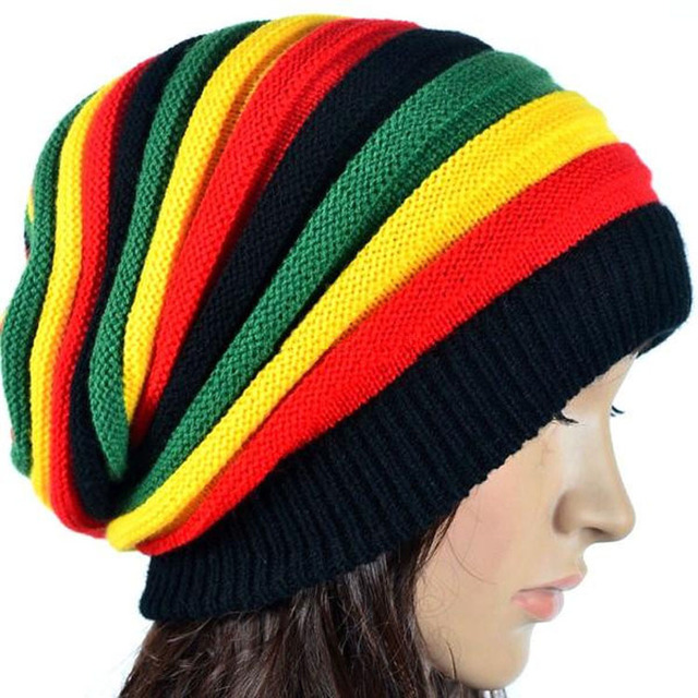 women Jamaican knit Baggy Beanie Rasta Hat Winter Multi-Color skull caps 8494c7085eb