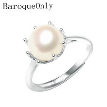 BaroqueOnly 925 Ayar Gümüş yüzük doğal inci taç yüzük çok renkli Takı Ayarlanabilir Yüzük Kadınlar Için Sevimli/Romantik RAX