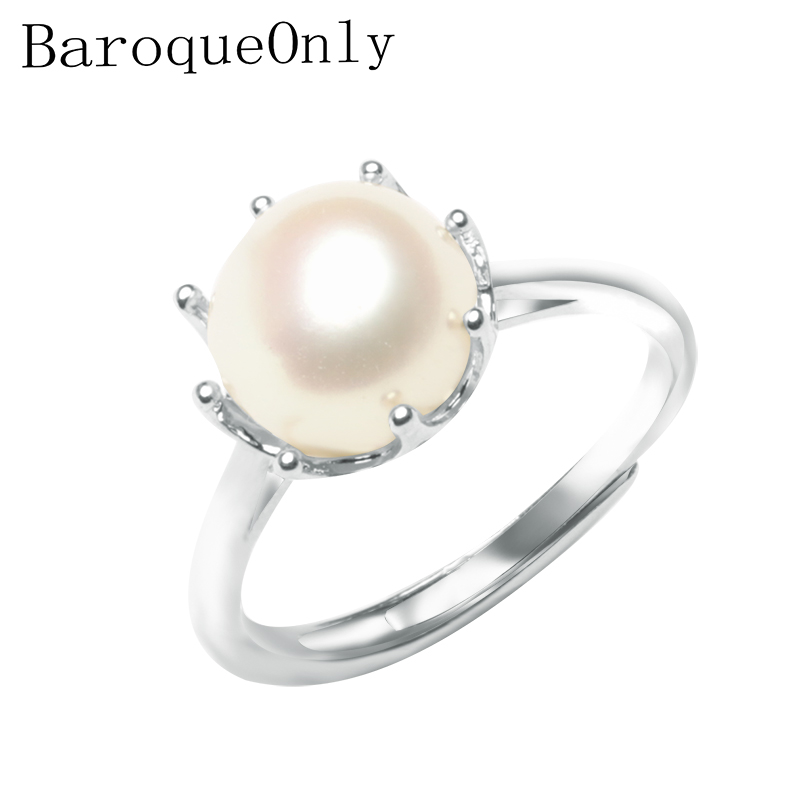 BaroqueOnly 925 Sterling Silver Ring Natural Pearl Crown Ring Multi Color Jewelry Adjustable Rings For Women Cute/Romantic RAX
