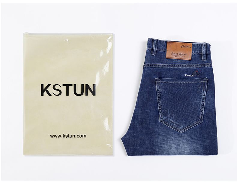 KSTUN Men's Jeans Stretch Solid Blue Straight Classic Regular Fit Jeans Fashion Pockets Leisure Businessman Long Trousers Male Homme 20