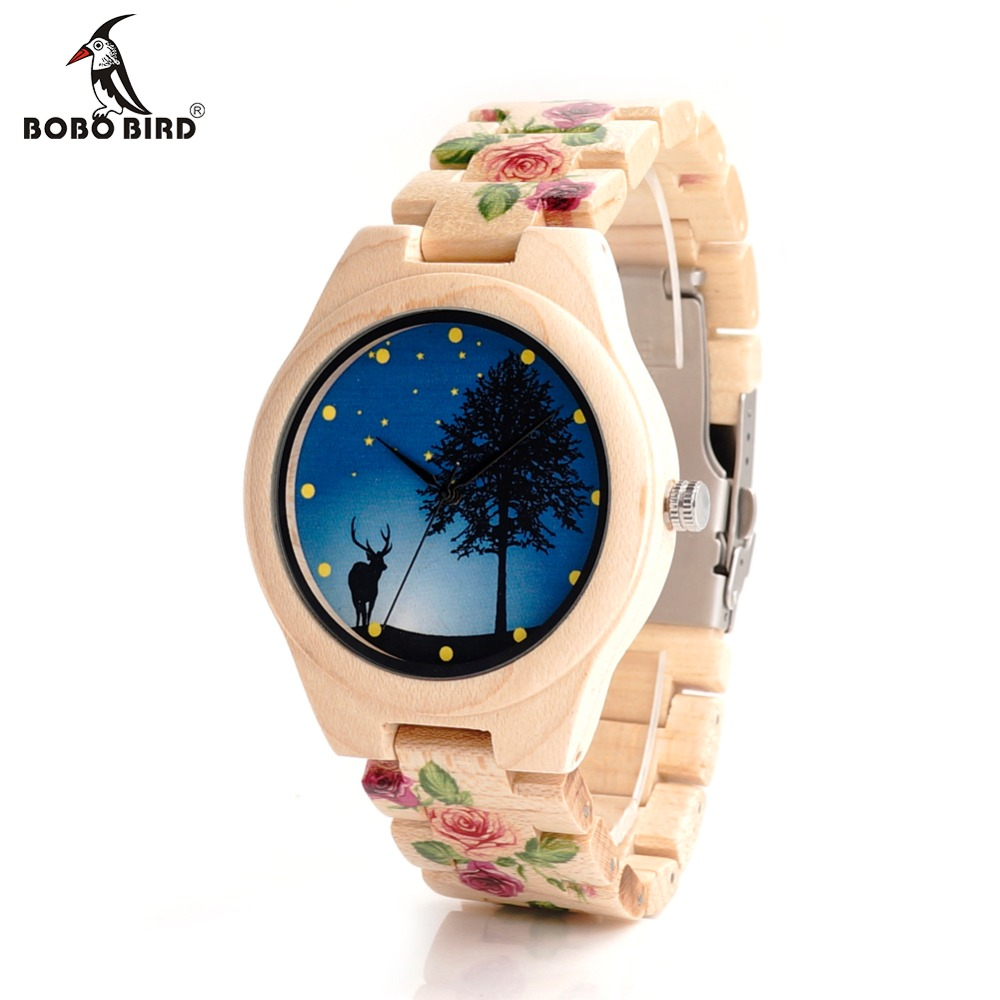 BOBO BIRD Bamboo Wood Watch With UV Printing Flower Wooden Band Mens Women s Quartz Watches